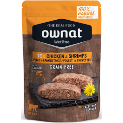 Ownat Wetline comida húmeda para gatos chicken & shrimps