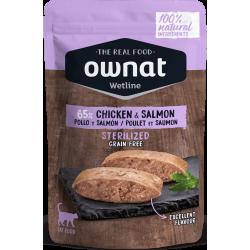 Ownat Wetline comida húmeda para gatos sterilised chicken & salmon