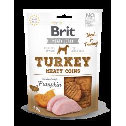 Brit jerky snack meaty coins pavo premios para perro
